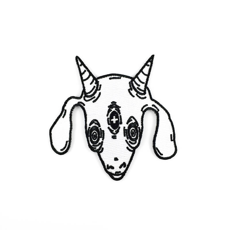 800x800 three eyed goat patch embroidered iron on patch etsy