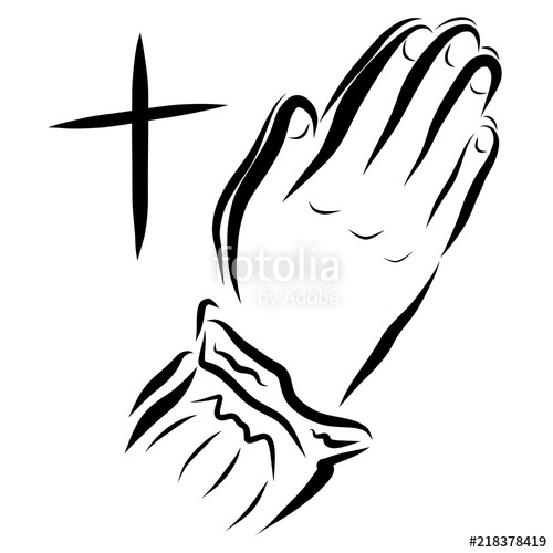 500x500 Cross And Woman Praying To God, Hands Stock Photo And Royalty