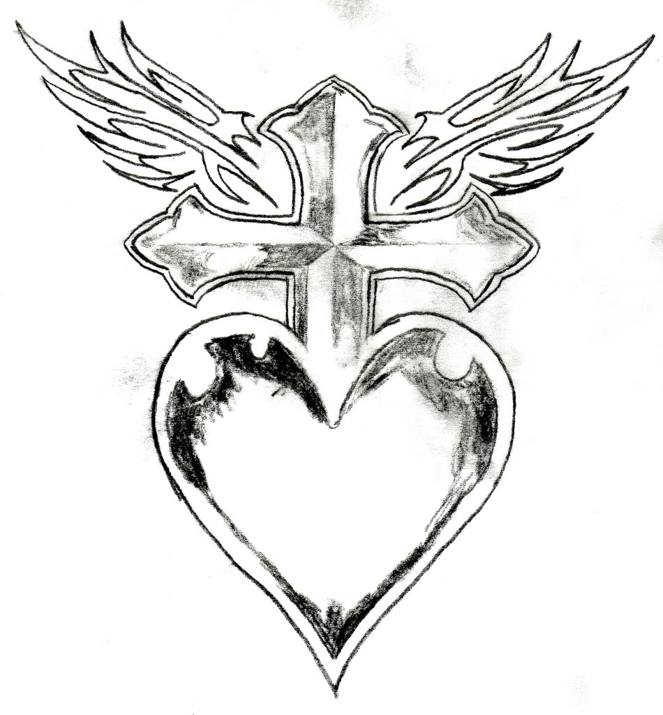 950x1024 Heart Drawing Cross For Free Download