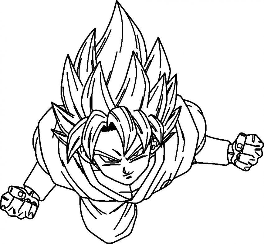 850x788 Goku Super Saiyan Coloring