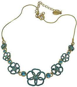 263x300 New Pilgrim De Gold Chain Necklace Green Enamel Open Flowers