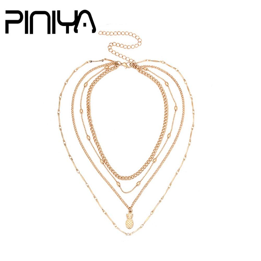 1000x1000 Piniya Fashion Lady Gold Color Pineapple Pendant Long Necklace