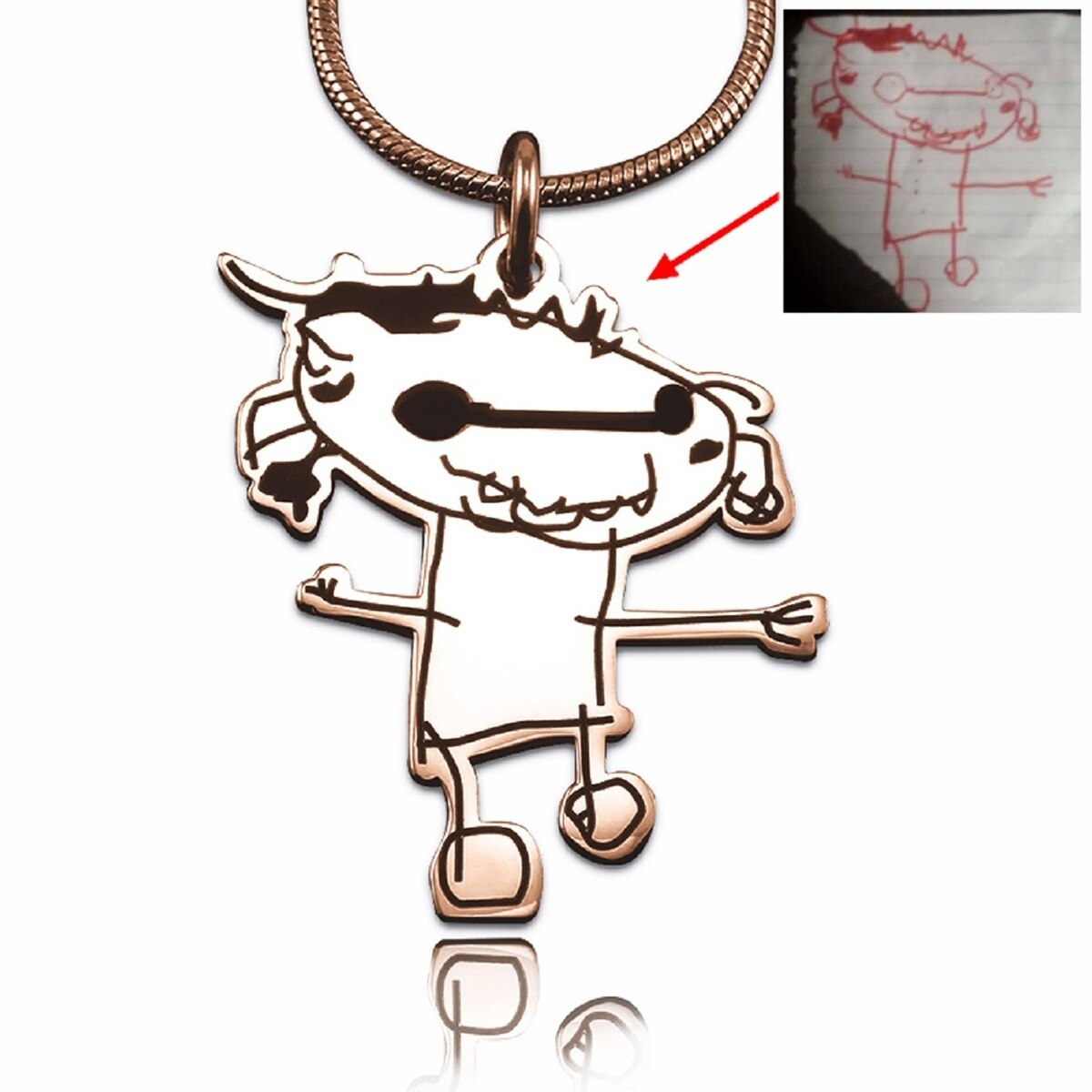 1200x1200 Personalised Jewellery Custom Kids Drawing Necklace Rose Gold
