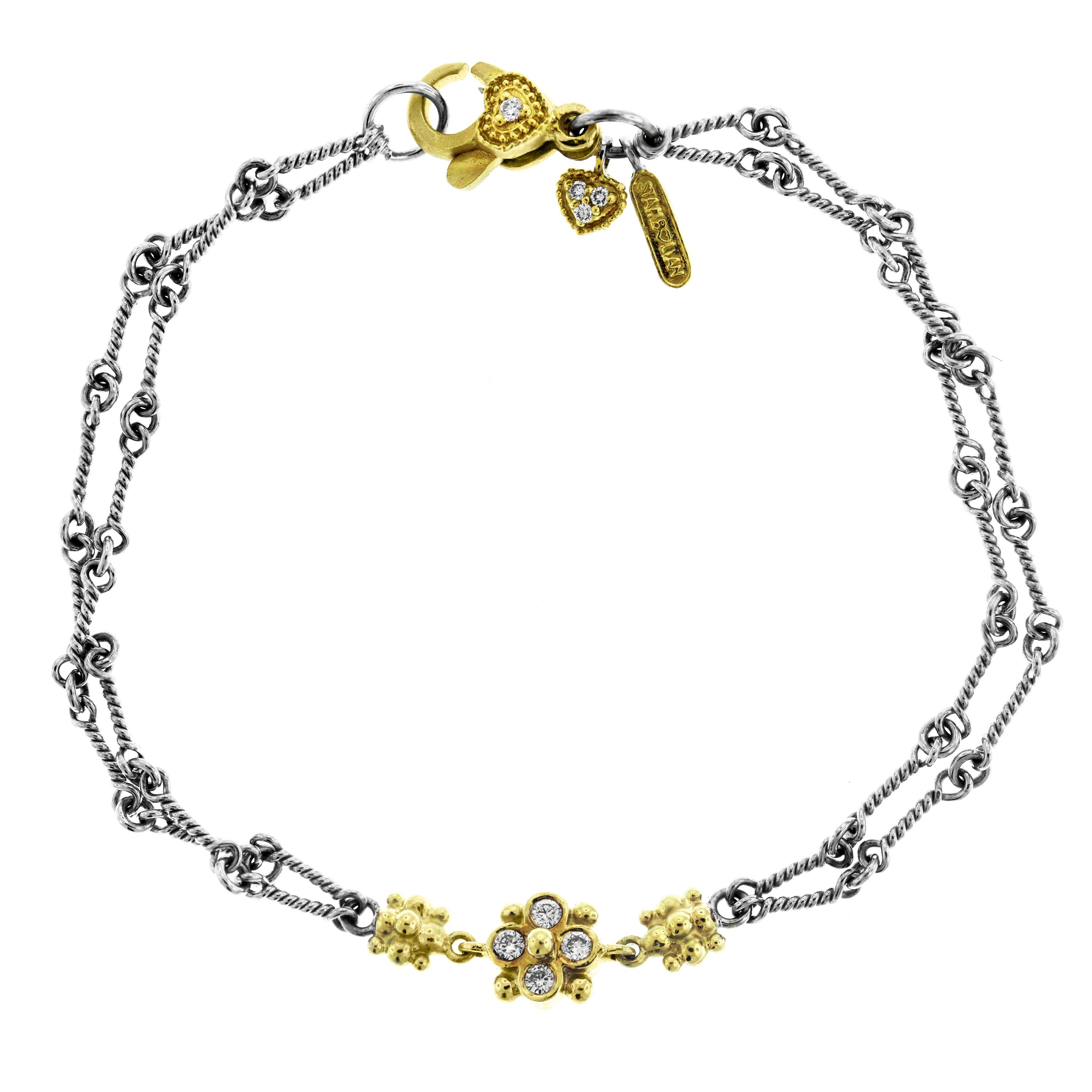 3000x3000 Two Tone Yellow White Gold And Diamond Chain Bracelet With Flower