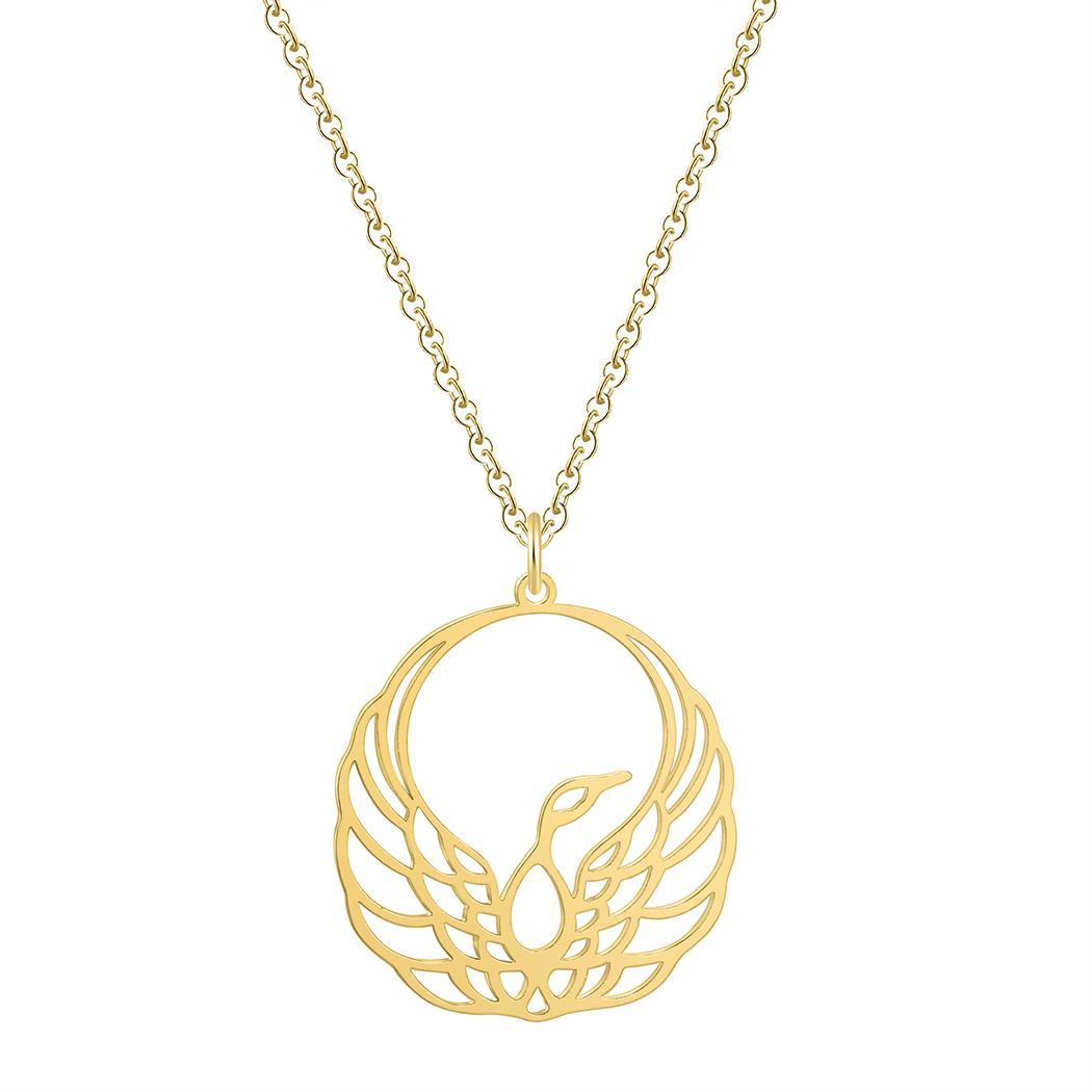 1050x1050 Wholesale Bird Origami Phoenix Pendant Necklace Gold Chain