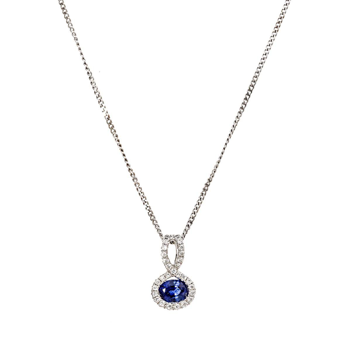 1200x1200 White Gold Oval Shaped Diamond And Sapphire Pendant