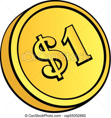 441x470 gold coin with dollar sign gold coin with dollar sign vector