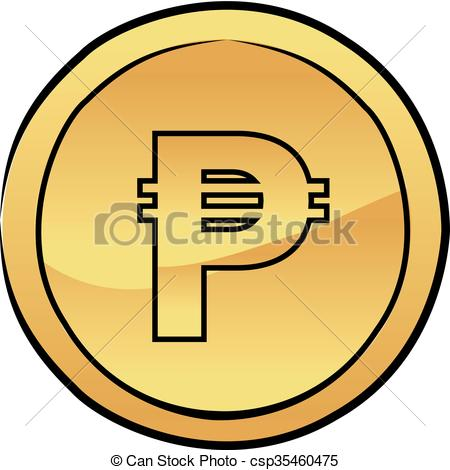 450x470 gold peso coin vector icon vector illustration of a gold peso coin