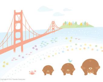 340x270 Sweet Happy Birthday Art Print San Francisco Golden Gate Etsy