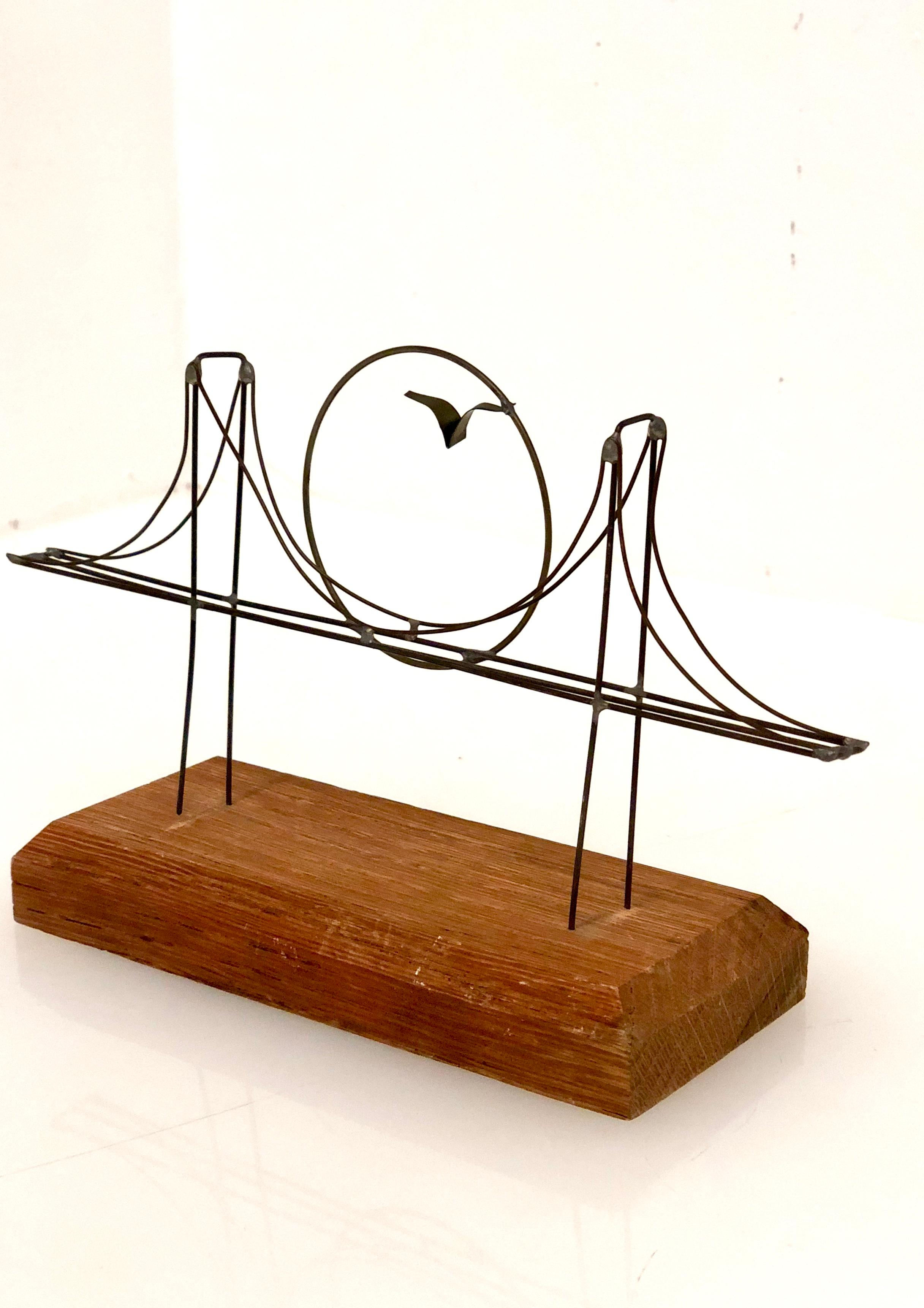 2432x3442 Whimsical Golden Gate Bridge Wire Sculpture Mid Century For Sale