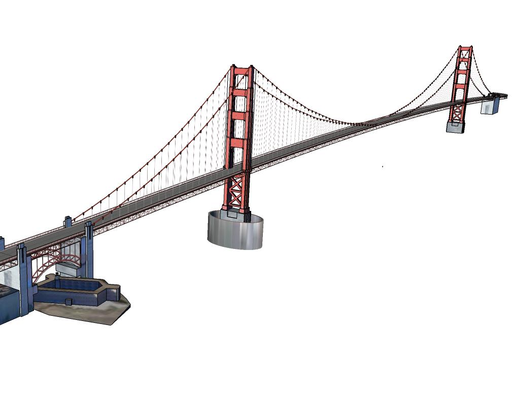 1015x785 Golden Gate Bridge Sketchup Block Cad Blocks Free