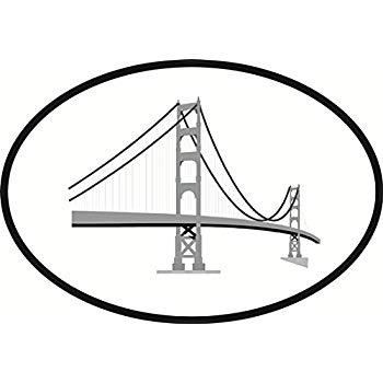 350x350 Golden Gate Euro Oval Bumper Sticker Automotive
