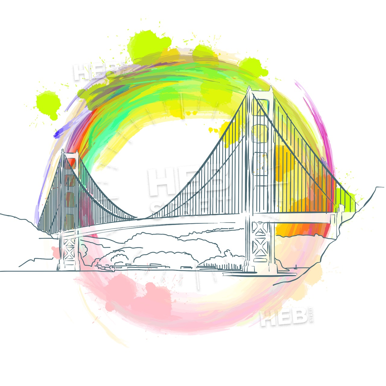 1280x1280 Colored Landmark Of Golden Gate Bridge Hebstreits Sketches