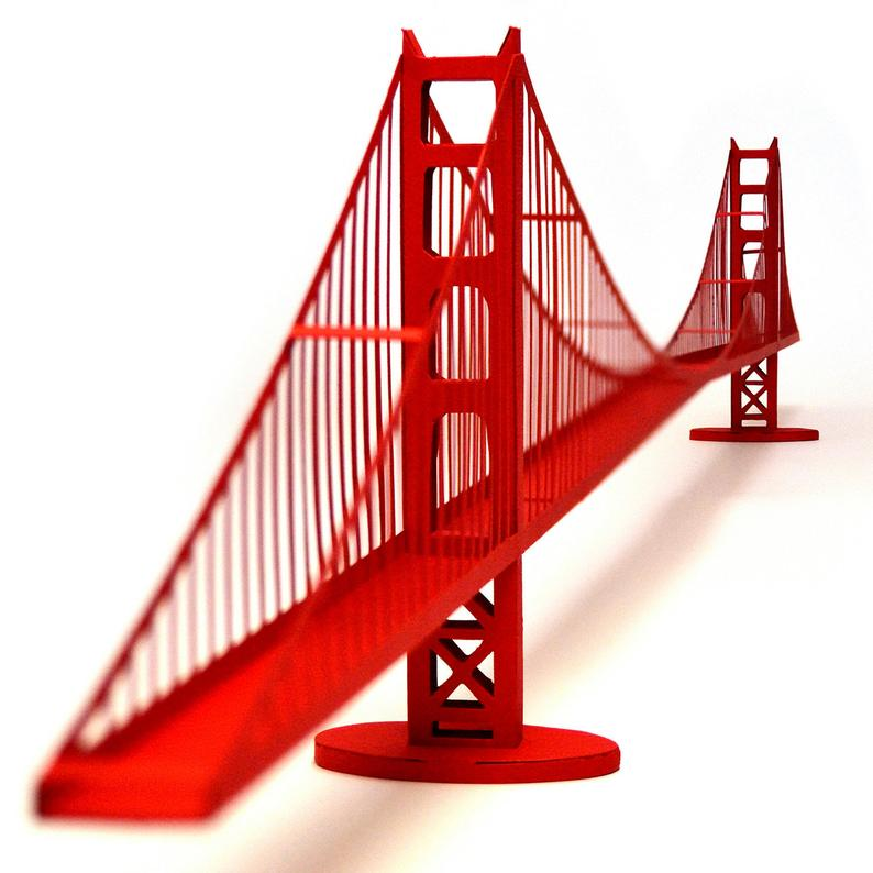 794x794 Golden Gate Bridge Architecture Paper Model Kit San Francisco Etsy