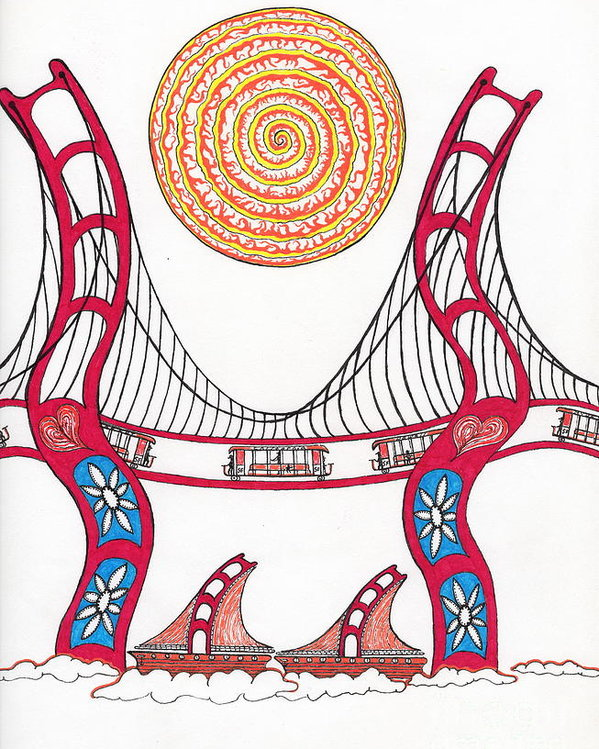 599x749 Golden Gate Bridge Dancing In The Wind Poster