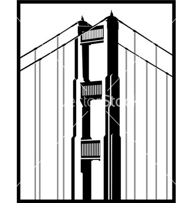380x400 Golden Gate Bridge Vector Vectors Line Art Vector, Golden Gate