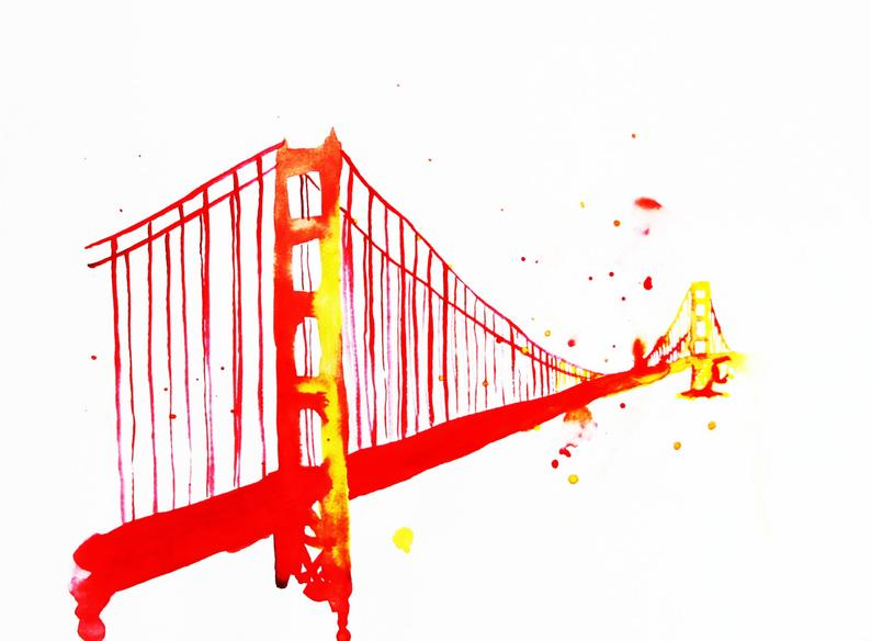 794x584 The Golden Gate Bridge Watercolor Illustration Print Etsy
