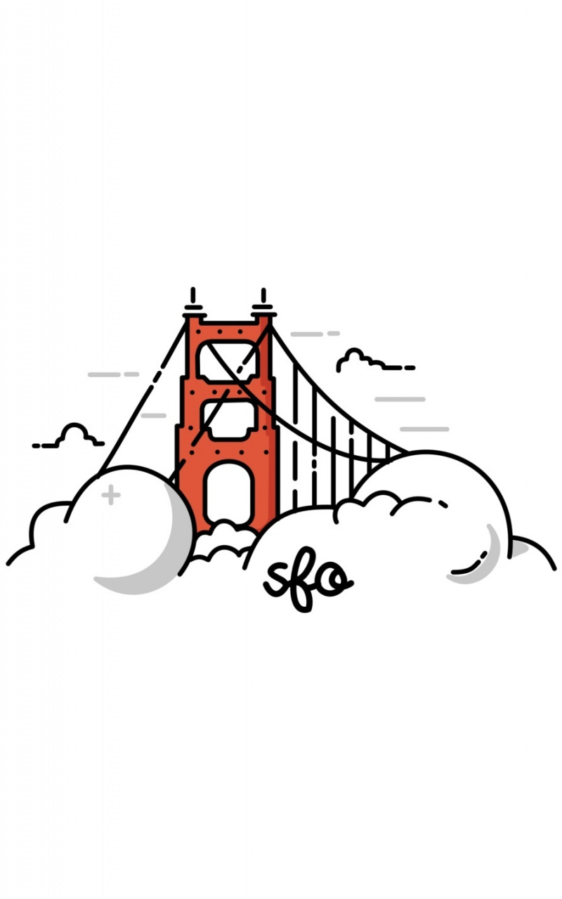 800x1280 Download Wallpaper Golden Gate Bridge, Clouds, Minimal
