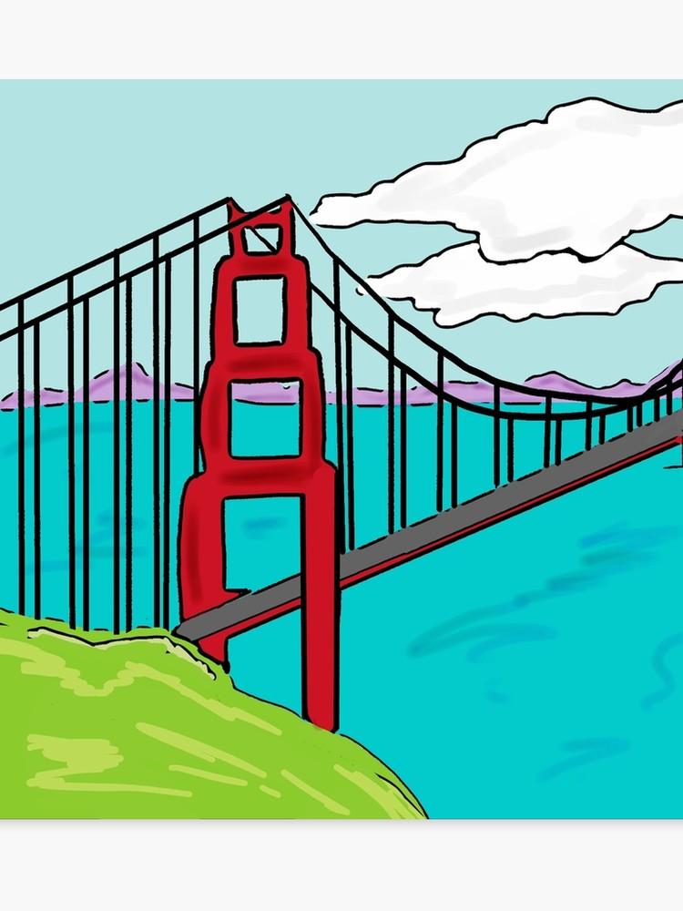 750x1000 Colorful Golden Gate Bridge California Drawing Canvas Print