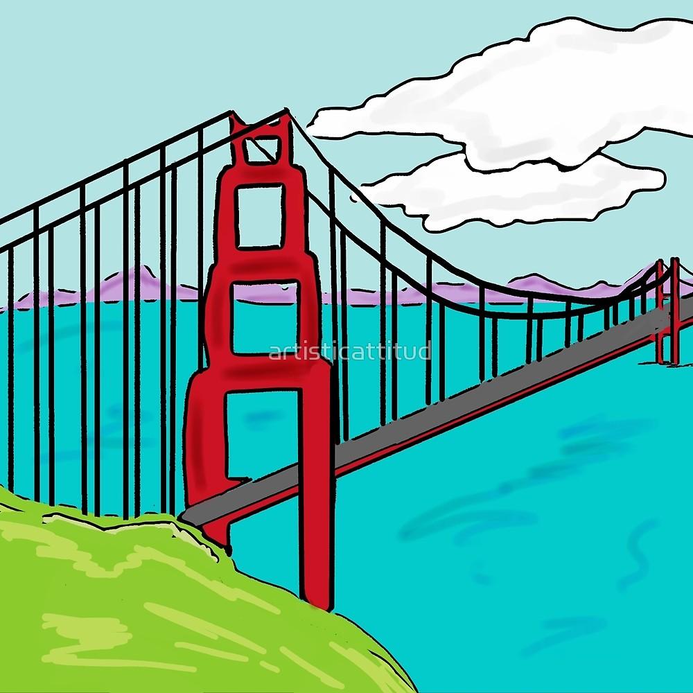 1000x1000 Colorful Golden Gate Bridge California Drawing
