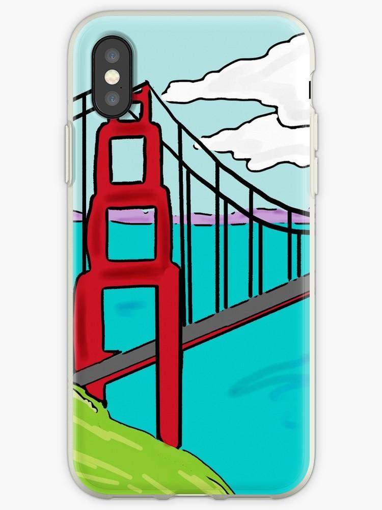 750x1000 Colorful Golden Gate Bridge California Drawing Iphone Cases
