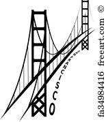 155x179 Free Golden Gate Bridge Drawing Art Prints And Wall Artwork Freeart