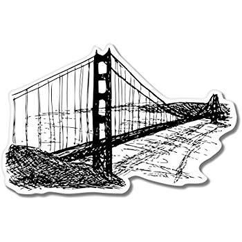 350x350 Golden Gate Bridge Sketch Vinyl Sticker
