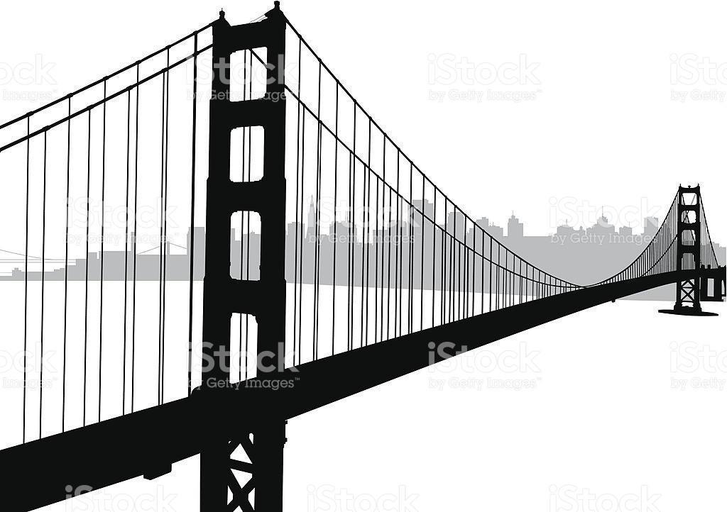 1024x722 Black And White Bridge Drawing Clipart Golden Gate Bridge Woodcut