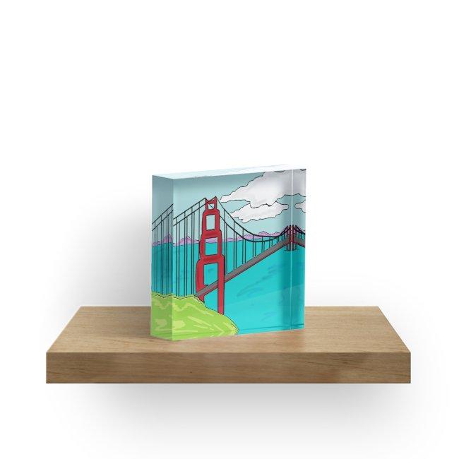 650x650 Colorful Golden Gate Bridge California Drawing Acrylic Blocks