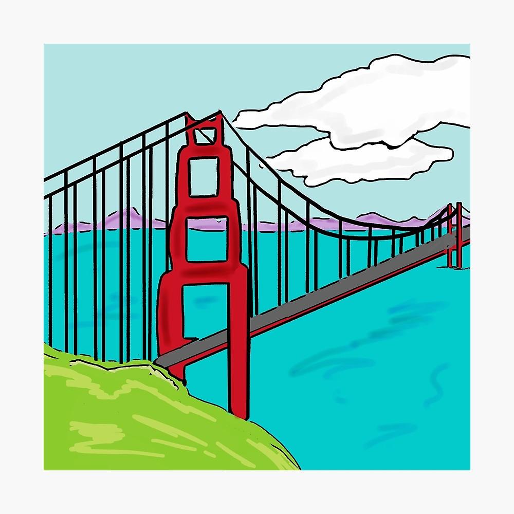 1000x1000 Colorful Golden Gate Bridge California Drawing Metal Print