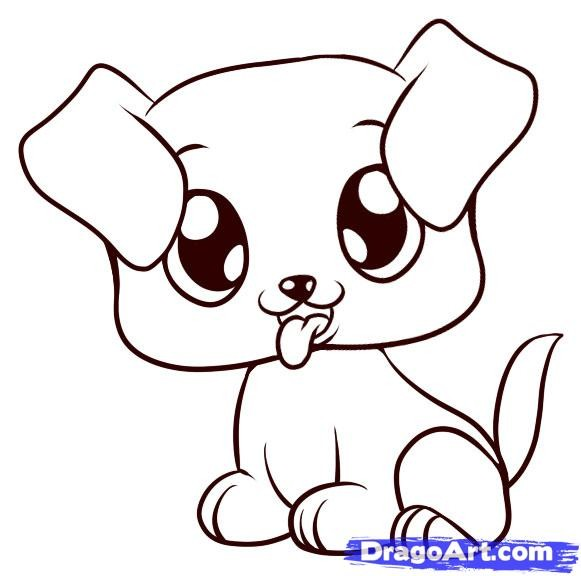 581x576 Drawn Puppy Easy Pencil And In Color Cute Drawing Puppies