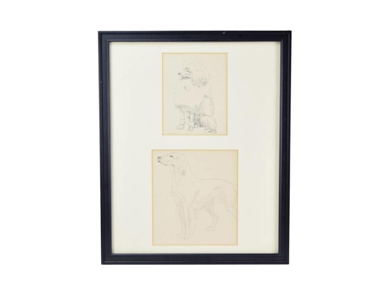 794x601 Framed Pair Of Pencil Drawings Poodle And Golden Etsy