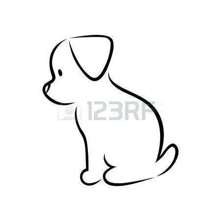 450x450 Puppy Line Drawing Animal Dog Puppy Pencil Drawing Illustration