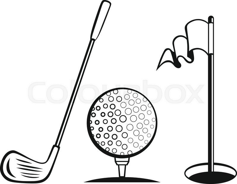 800x620 golf icon set golf flag, golf ball stock vector colourbox