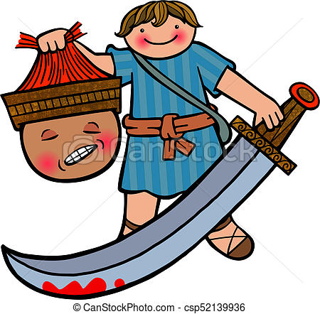 450x442 david and goliath cartoon illustration of the young boy david