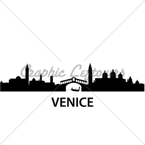 500x500 Detailed Vector Silhouette Of Venice, Italy Travel Venice