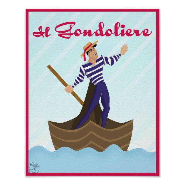 630x630 Il Gondoliere Venice Italian Gondola Man Drawing Poster Zazzle Ca