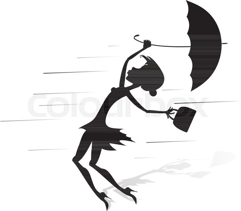800x700 Young Woman Tries To Hold An Umbrella Stock Vector Colourbox