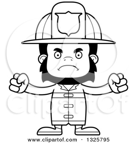 450x470 Lineart Clipart Of A Cartoon Black And White Mad Gorilla