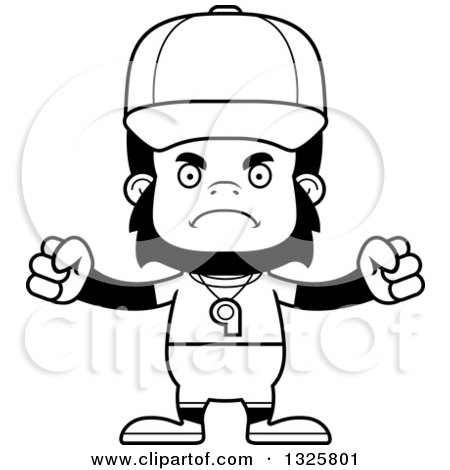 450x470 Lineart Clipart Of A Cartoon Black And White Mad Gorilla Sports