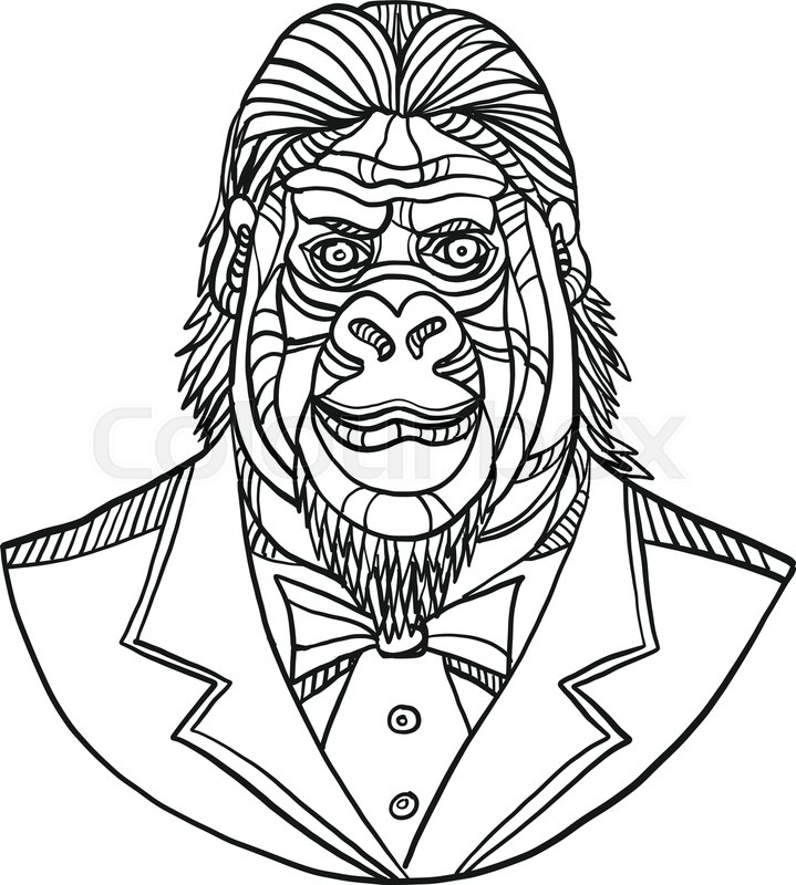719x800 Mono Line Illustration Of Bust Of A Stock Vector Colourbox