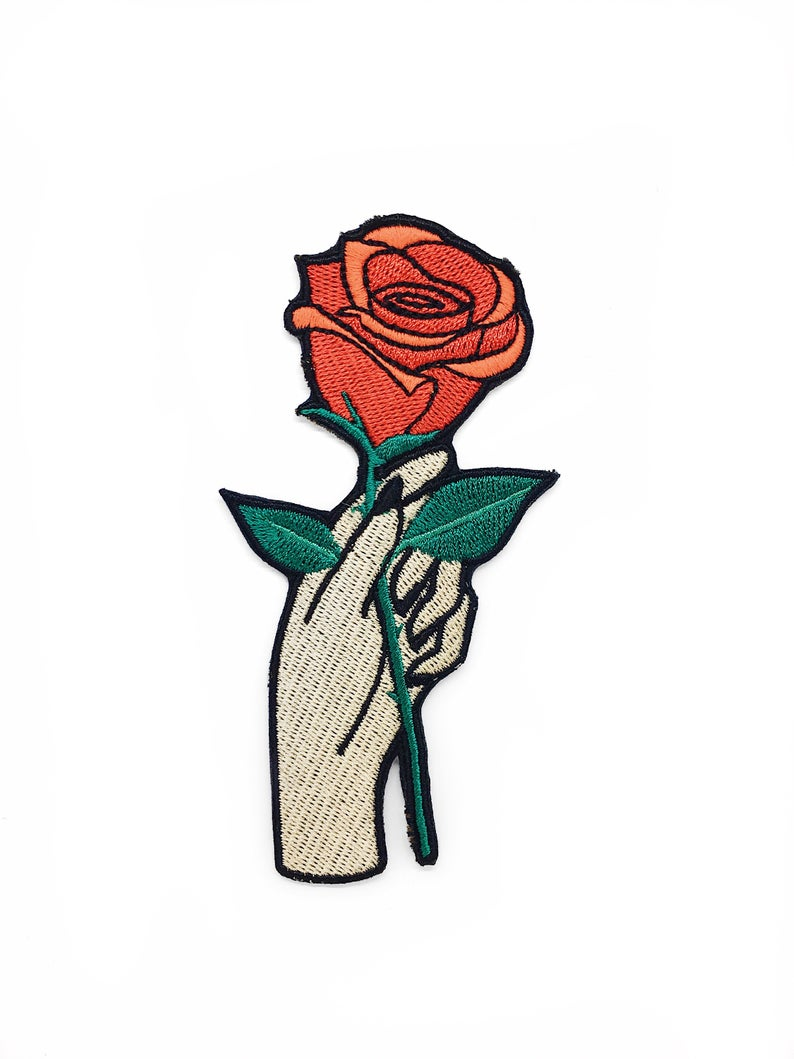 794x1059 iron on patch hand with red rose patch embroidered patches etsy