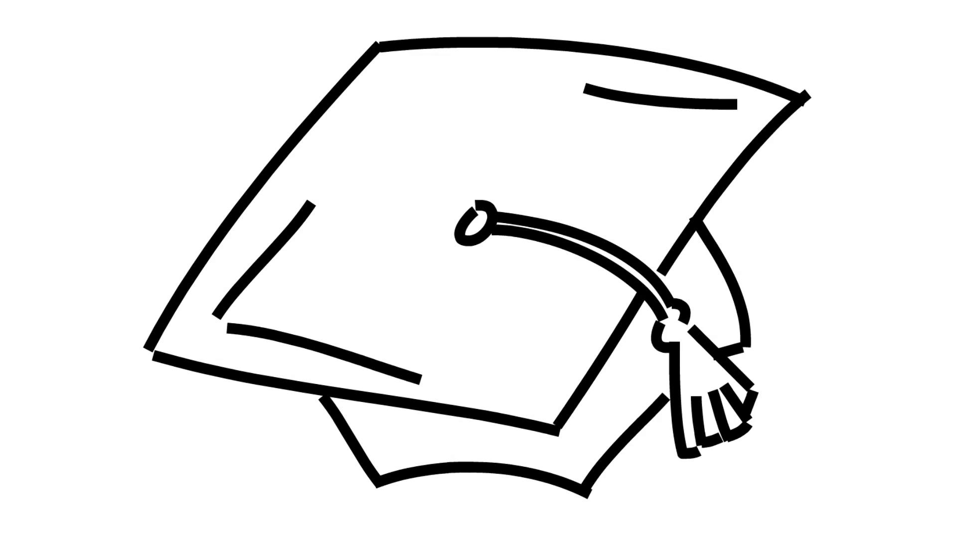 1920x1080 Graduation Hat Line Drawing Illustration Animation