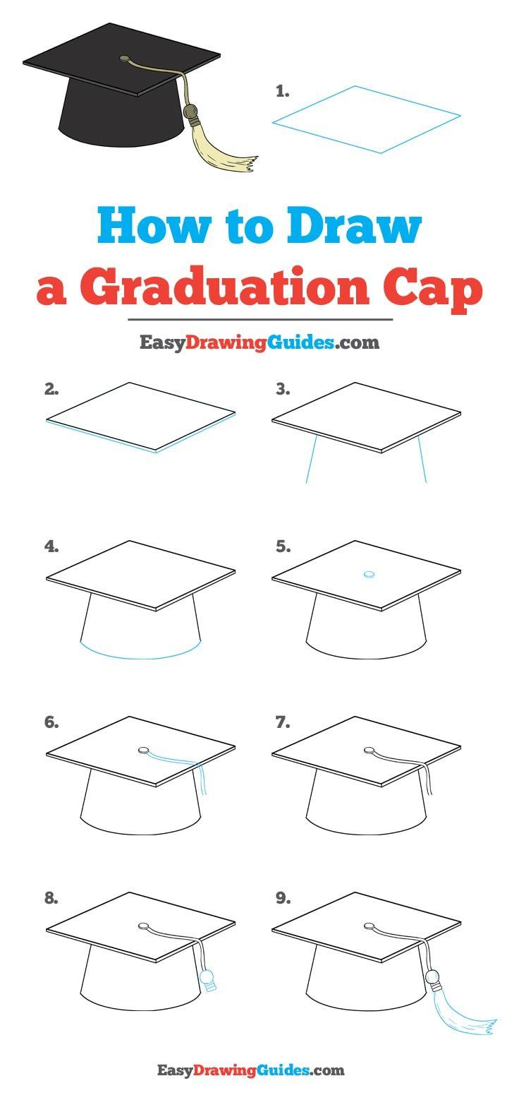 736x1558 How To Draw A Graduation Cap