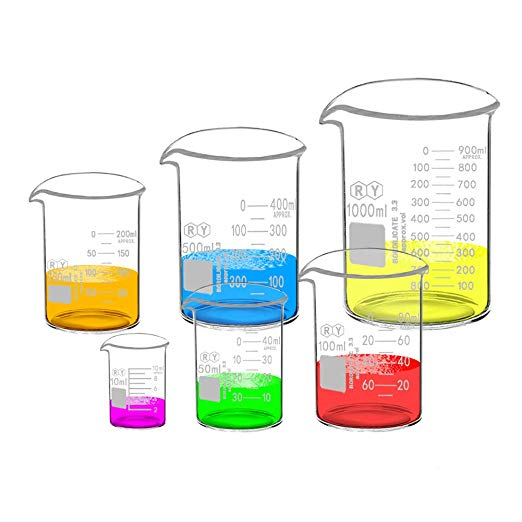 522x522 Glass Beakers Set Borosilicate Graduated Measuring Low Form Beaker