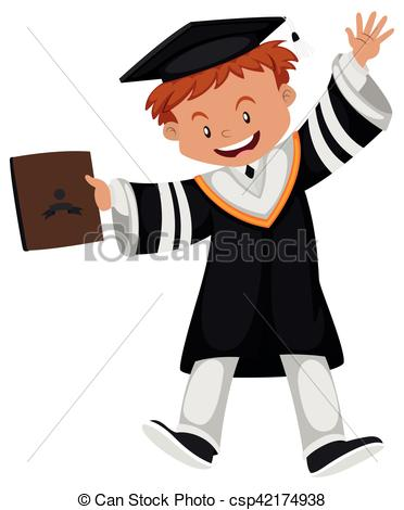 372x470 Man In Black Graduation Gown Illustration Vectors