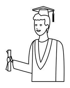 240x300 Student Man With Graduation Gown And Hat Vector Illustration