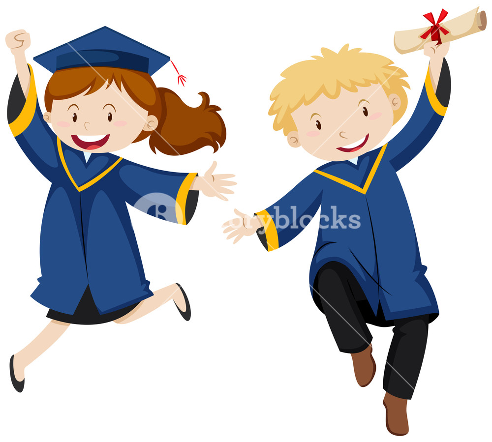 1000x899 Boy And Girl In Graduation Gown Royalty Free Stock Image