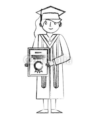 320x400 Graduate Woman In Graduation Robe And Cap Holds Diploma Buy