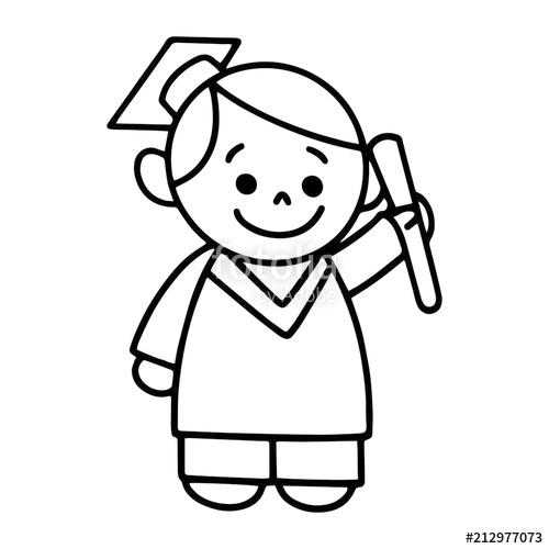 500x500 Boy In Graduation Gown Cartoon Illustration Isolated On White